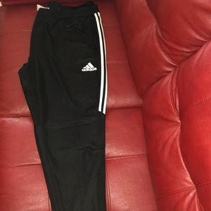 Adidas black with triple white stripes